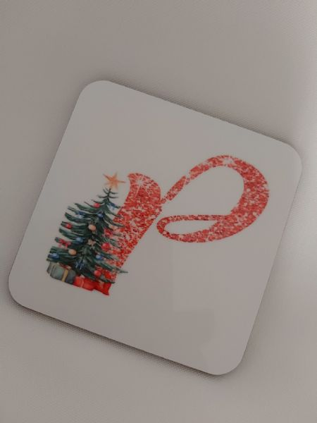 Christmas Tree Initial Personalised Coaster